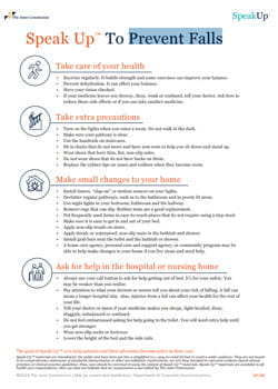 Preventing Falls infographic