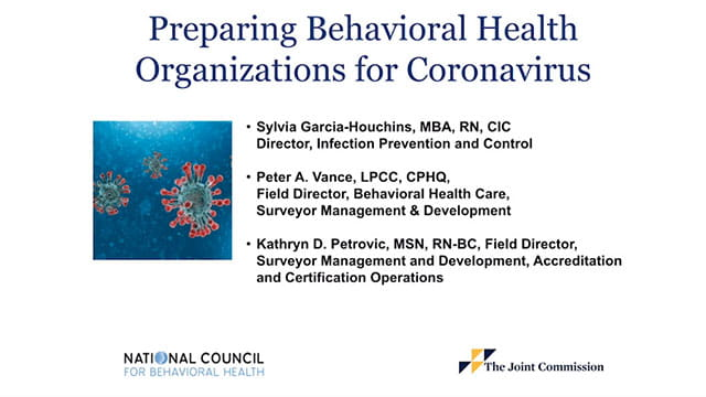 Preparing Behavioral Health Organizations for Coronavirus Webinar
