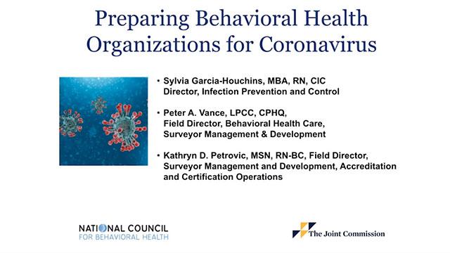 Preparing Behavioral Health Organizations for Coronavirus Webinar