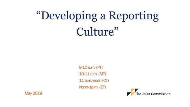 Developing a reporting culture