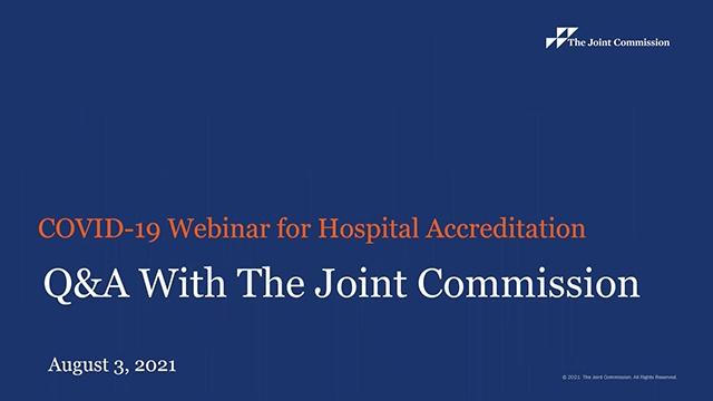 Hospital accreditation webinar covid19 aug3