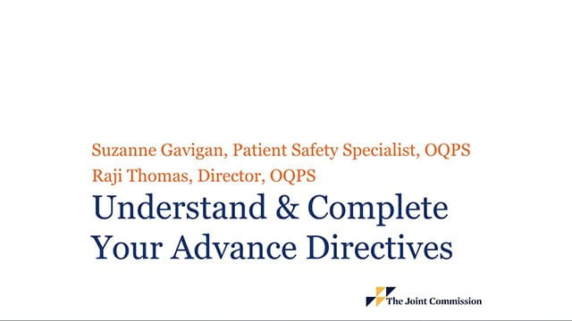 Webinar on understand and complete your advance directives